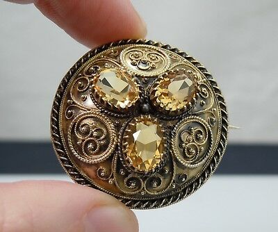 Antique David Andersen Norwegian 830S Silver Filigree Solje Brooch for Bunadsolv