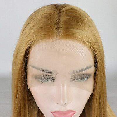 """16-26"""" Straight Handtied Dark Blonde Lace Front Wig Synthetic Hair"""