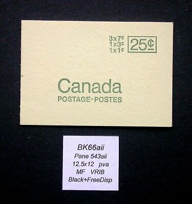 BK66aii ~ Pane 543aii  MF  ~ Canada Centennial Booklet Stamps BK66 aii