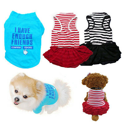 Pet Puppy Clothes Summer Cotton Dress Shirt Small Dog Cat T Shirt Apparel L