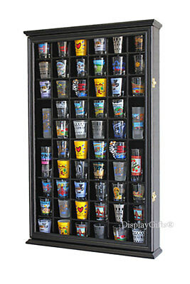 56 Shot Glass Display Case Holder Cabinet  Rack Wall Shadow box- Black SC56-BL