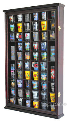 56 Shot Glass Display Case Holder Wall Cabinet  Rack Shadow Box -CHERRY SC56-CH