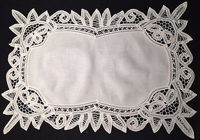 Two Old Vintage White Exceptional HM Battenberg Lace Trim Placemats Hand Made,