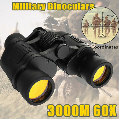 Day/Night 60x60 Military Army Zoom Ultra HD Binoculars Optics Hunting Camping DL