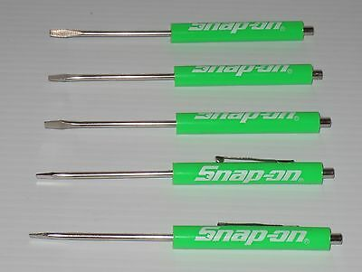 Five (5) Snap on Pocket Screwdriver, GREEN Flat Tip Screwdrivers, Magnetic .NEW.