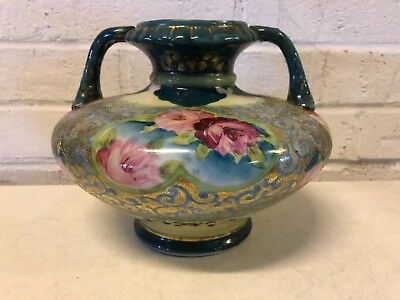 Antique Japanese Porcelain Moriage Double Handled Vase with Pink Floral Dec.