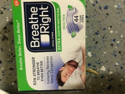 Breathe Right Nasal Strips EXTRA Clear 44 Tan Strips Nasal Congestion one box