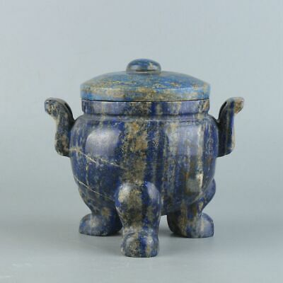 Chinese Exquisite Hand carved lapis lazuli incense burner
