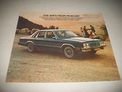 1978 Mercury Full Line Sales Brochure Catalog Clean  Mercury Bobcat Lincoln
