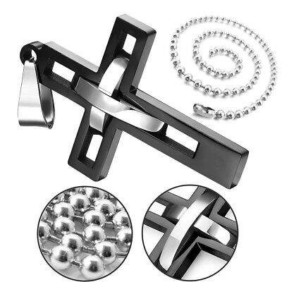 Men's Black Silver Double Hollow Cross Stainless Steel Pendant Necklace Fashion