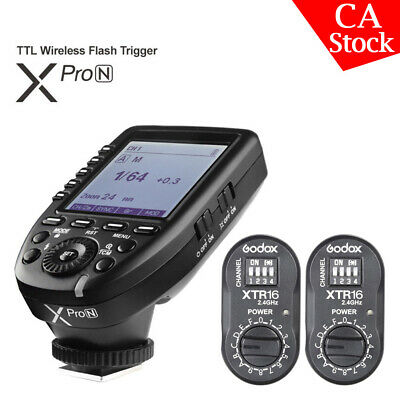 Godox XPro-N 2.4G TTL Wireless Flash Trigger+ 2*XTR-16 Receiver For Nikon Camera
