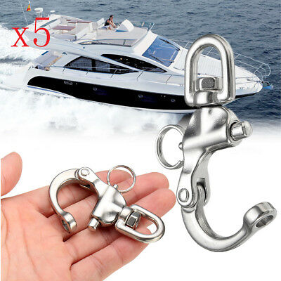 """5Pcs 316 Stainless Steel Boat Anchor Chain Eye Shackle Swivel Snap Hook 2.68"""""""
