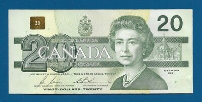 Canada 20 Dollars 1991 P-97b Queen Elizabeth II / Common Loon on Back Banknote