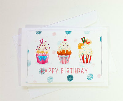 Happy Birthday Cupcake Greeting Cards For Kids Son Boy Girl Mom Cute To BD054
