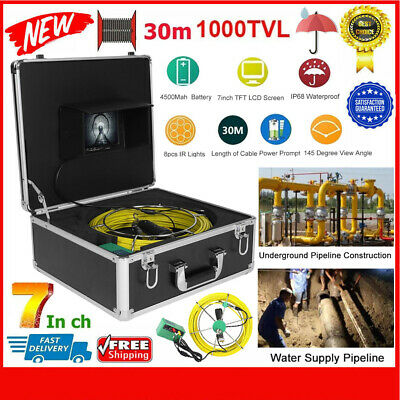 """7"""" Pipe Sewer Inspection Video Camera LCD 17mm 1000TVL HD 30m Cables Waterproof"""