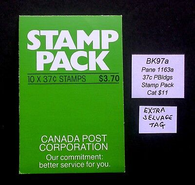BK97a + Extra Tag in Selvage ~ Face $3.70 ~ Pane 1163a ~ Canada Booklet Stamps