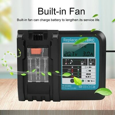 14.4-18V Output Lithium Battery Charger for MAKITA DC18RC Clear Screen Display