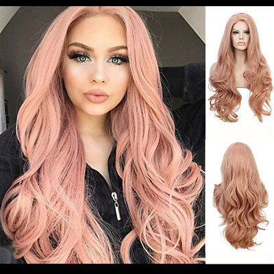 Women's Lady Girl Fashion Wig Pink Synthetic Hair Long Wigs Wave Curly Wig