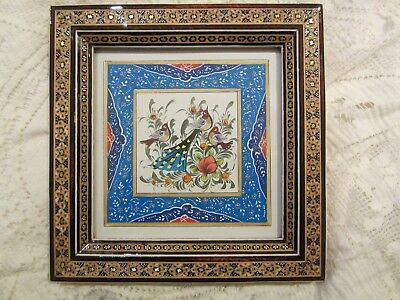 Persian Khatam inlaid frame with hand painted picture