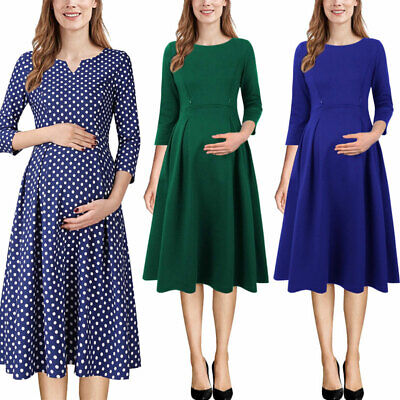 Womens Maternity Nursing Pockets Pleated Work Office Casual Skater A-Line Dress