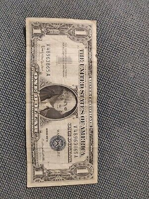 1957B One Dollar Well Circulated Silver Certificate Note - $1 Bill
