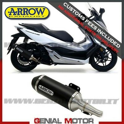 Exhaust + Link Pipe Arrow Aluminium Black Honda Forza 300 2018 > 2019