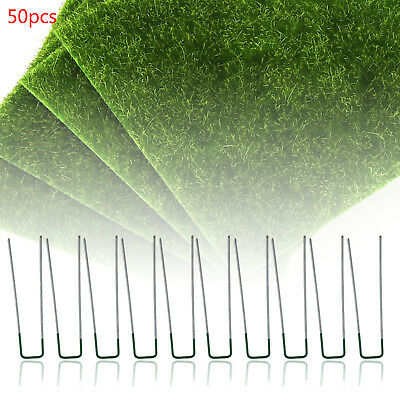 50PCS U Half Green Artificial Grass Turf Galvanised Pegs Staples Weed Hooks Kit