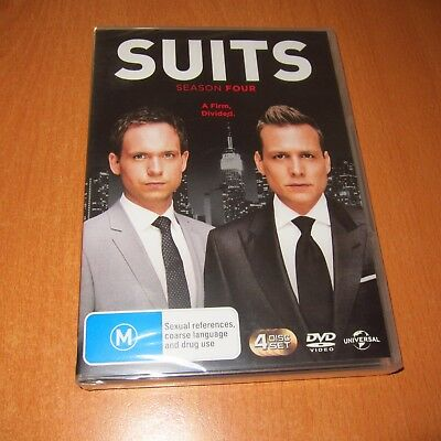 Suits - Season Four 4 ( Dvd , 4 Disc Set Region 4 ) ~ Brand New Sealed !