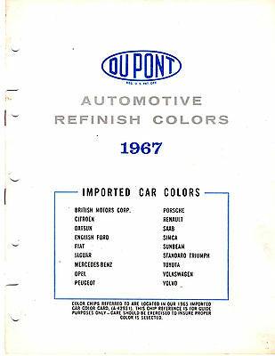 1967 Dupont Automotive Refinish Import Car Color Reference Guide Chart Brochure