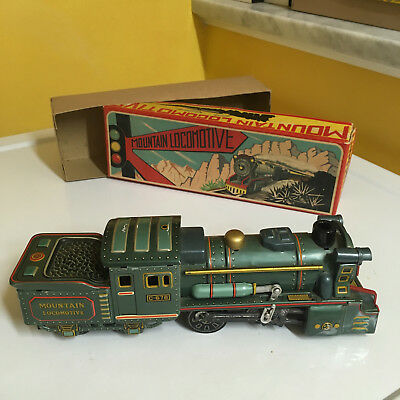 Sss Friction Driven, Tin, Mountain Locomotive With It's Original Box. Working!!!