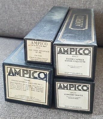 Ampico Boxed Piano Player Rolls - Set Of 4