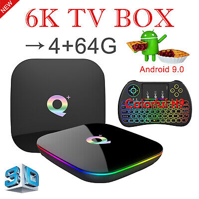 2019 6K Android 9.0 4+64GB Q Plus TV Box Quad Core WIFI BT HDMI With Keyboard H9