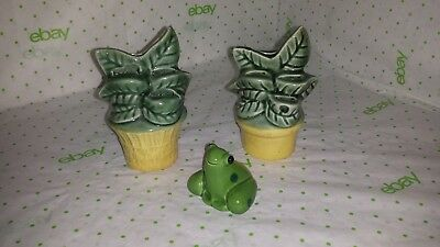 Vintage small flower pot set of 2 with leaves Ceramic Vase Planters figurine por