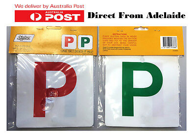 """1 Pair Red & Green """"P"""" Plates Plastic With Stay-Put Suction Disks For QLD NSW"""