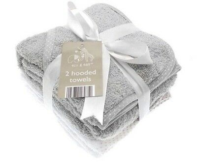 2 Soft Grey & White Elli & Raff Baby Hooded Bath Time Towel 100% cotton 74x74cm