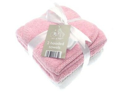2 Soft Pink & White Elli & Raff Baby Hooded Bath Time Towel 100% cotton 74x74cm