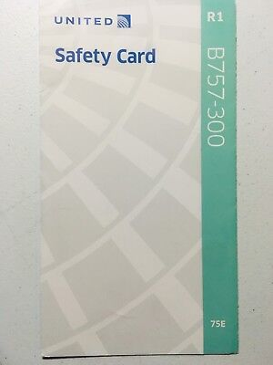 United Airlines B757-300 Safety Card (R1, 05/2017) Collectible, RARE, 75E, NEW!
