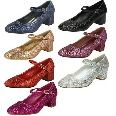 Girls Spot On Heeled Sparkly Dolly Shoes