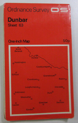 1965 Old Vintage OS Ordnance Survey One-inch Seventh Series Map 63 Dunbar