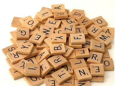 100 wooden scrabble tiles black letters numbers for crafts wood alphabets ^SCRB