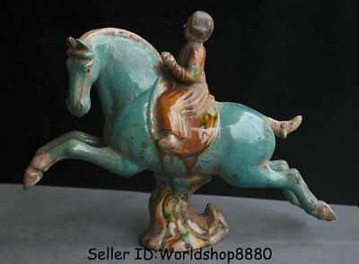 "12.4"" Chinese Old Tang Sancai Porcelain Pottery Ancient Woman Ride Horses Statue"