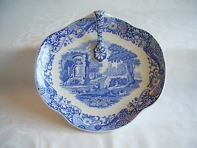 Spode Blue Italian - Shaped Dish With Handle - UNUSED?     *More in Pattern