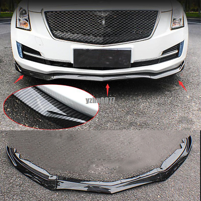 3* ABS Carbon fiber Style Front Bumper Lip Cover Trim For Cadillac ATS 2015-2018