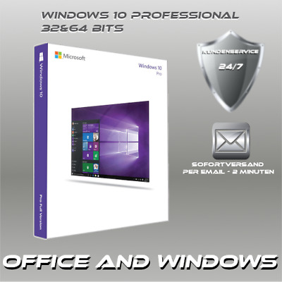 MS Windows 10 Professional - 32&64 Bits OEM - Win 10 Pro ProduktKey per E-Mail