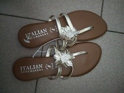2d046207a Italian Shoemakers Women s Size 7.5 Jeweled Thong Flat Sandal Made in  Italy+gift