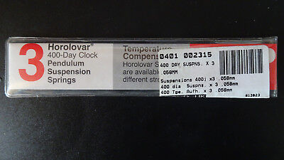 New Quality Horolovar  400 Day Clock Suspension Springs size .058mm - pk 3
