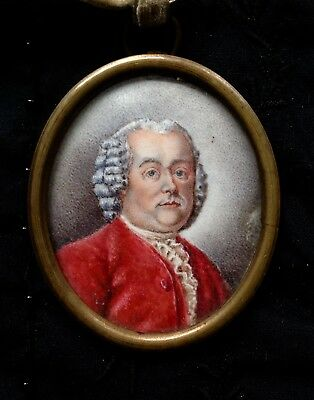 Fine C1750 Georgian Aristocrat Man With Coat Of Arms Reverse Portrait Miniature