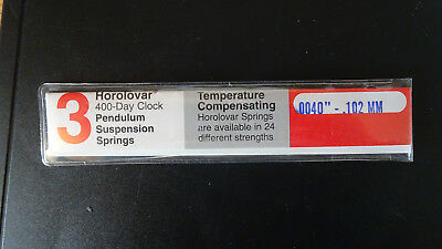 New Quality Horolovar  400 Day Clock Suspension Springs size .102mm - pk 2