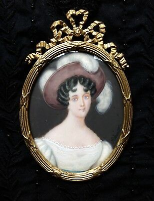 Delightful C1825 Lady Girl Hat Feathers Portrait Miniature Bow Brass Frame