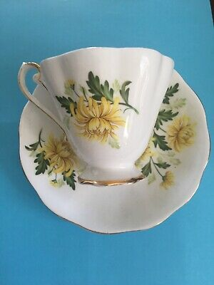 "Royal Standard ""Romance"" Signed Tea Cup Saucer Bone China England Yellow Floral"